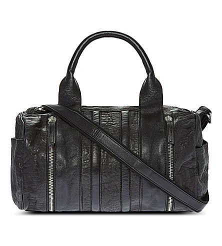 MAJE Leather zip-detail shoulder bag (Noir