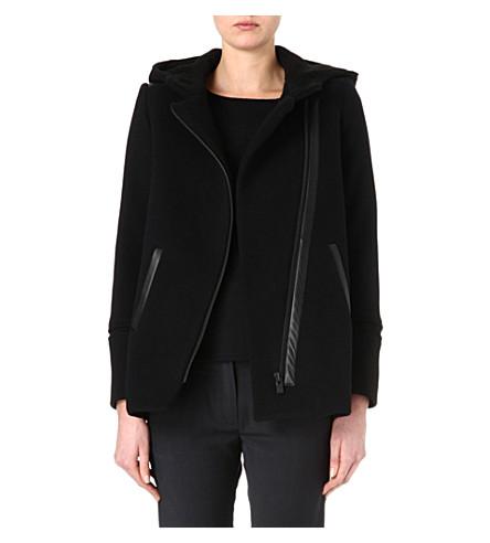 MAJE Lambskin fine-knit coat (Black