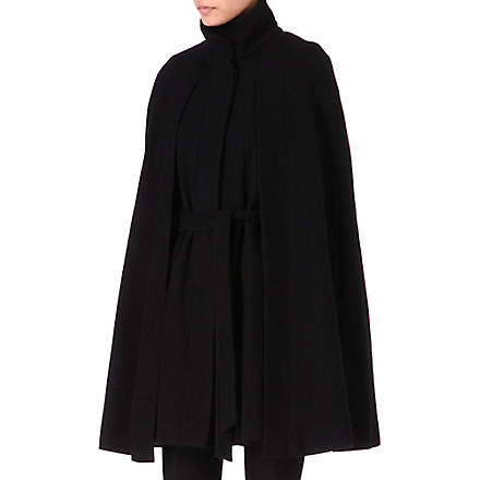 MAJE Wool-blend cape coat (Black