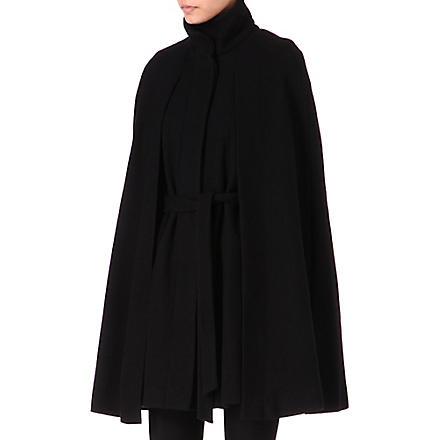 MAJE Wool-blend cape coat (Black