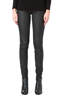 MAJE Faux-leather skinny mid-rise jeans
