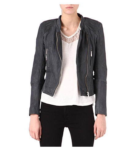 MAJE Leather motorcycle jacket (Gris