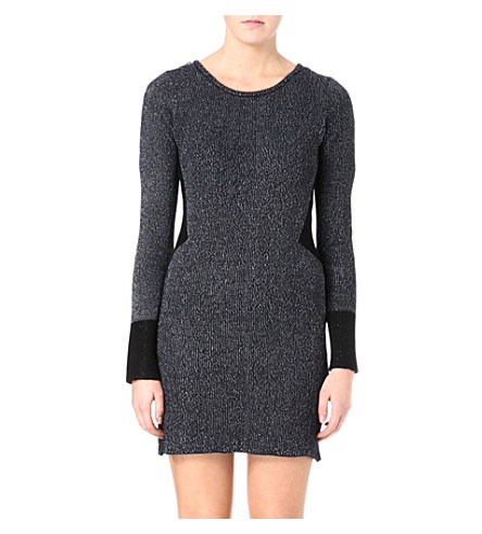 MAJE Lurex zip-detail knitted dress (Bleu