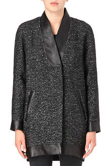 MAJE Leather-trim tweed coat