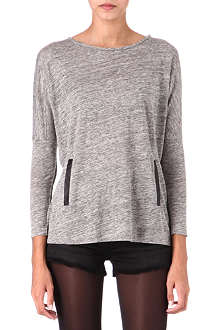 MAJE Long-sleeved leather-detail top