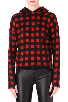 MAJE Checked knitted hoody