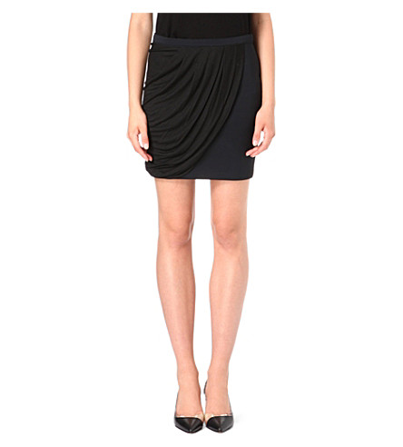 MAJE Remi draped skirt (Black