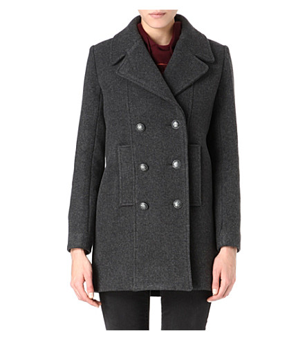 MAJE Military double-breasted coat (Anthracite