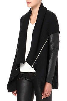 MAJE Leather-sleeve cardigan