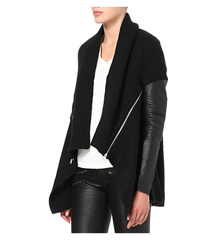 MAJE Leather-sleeve cardigan (Black