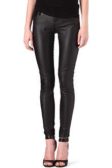 MAJE Drill skinny mid-rise faux-leather and denim jeans