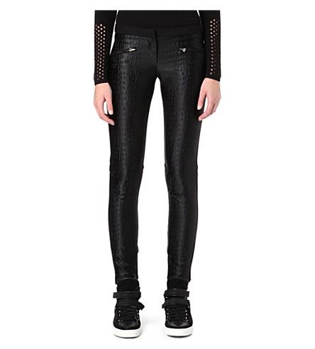MAJE Croc-print trousers (Black
