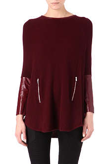 MAJE Leather detail wool-blend jumper