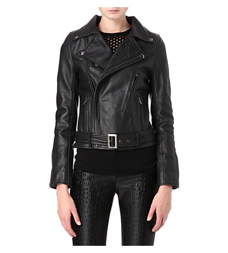 MAJE Celui leather biker jacket (Black