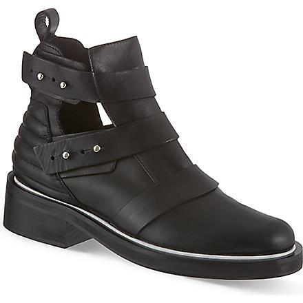 MAJE Leather semi-open boots (Black
