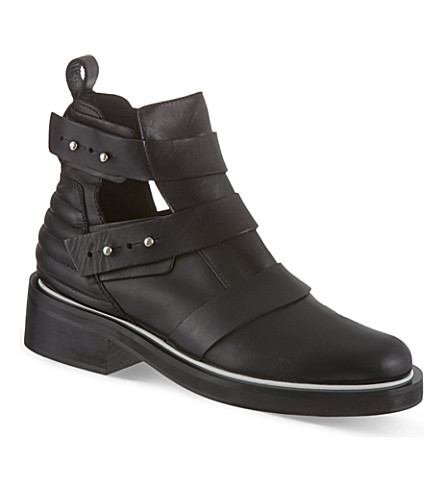 MAJE Leather semi-open boots (Black