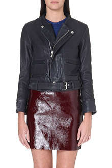 MAJE Collarless biker jacket