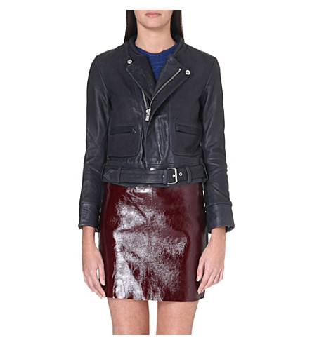 MAJE Collarless biker jacket (Marine