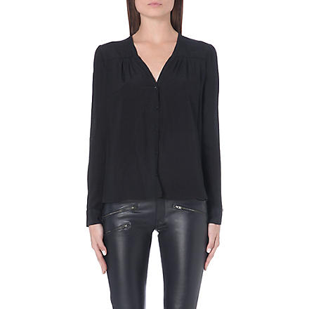 MAJE Button up v-neck shirt (Black