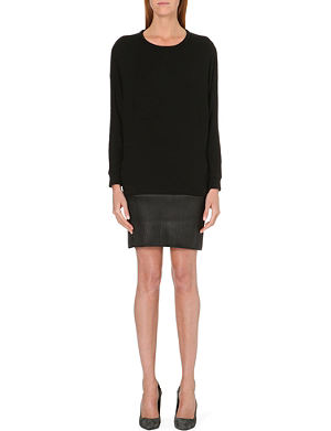 MAJE Gifle leather and jersey dress