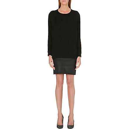 MAJE Gifle leather and jersey dress (Black