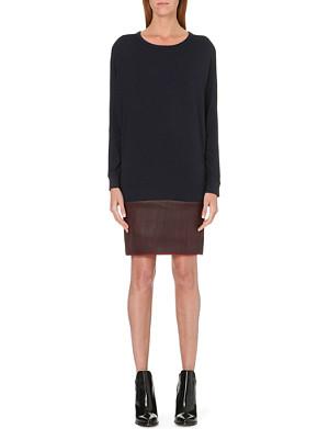 MAJE Gifle leather and jersey dress