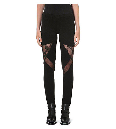 MAJE Lace insert leggings (Black