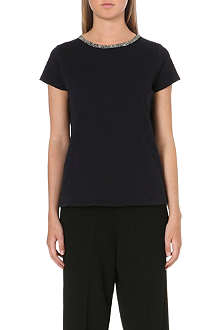 MAJE Diamante trim t-shirt