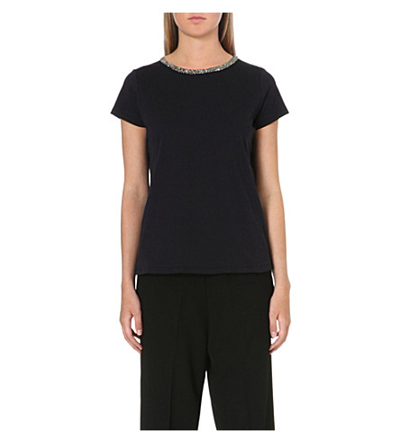 MAJE Diamante trim t-shirt (Nuit