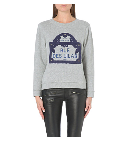 MAJE Giullaume cotton-jersey sweatshirt (Gris