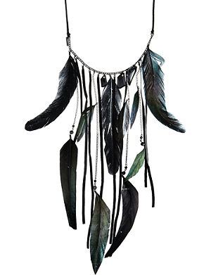MAJE Brass feather necklace