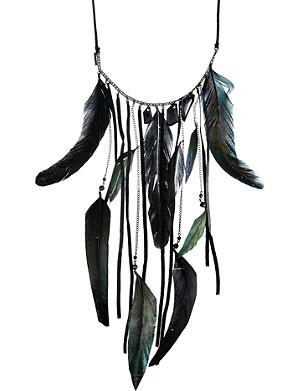 MAJE Brass feather necklace