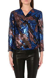 MAJE Metallic silk top