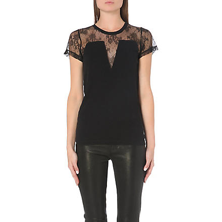 MAJE Lace panel t-shirt (Black