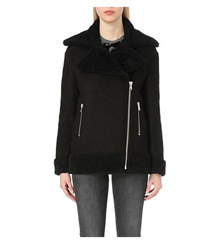 MAJE - Glavering shearling-trim suede jacket | Selfridges.com