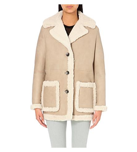 MAJE - Button-up shearling coat | Selfridges.com