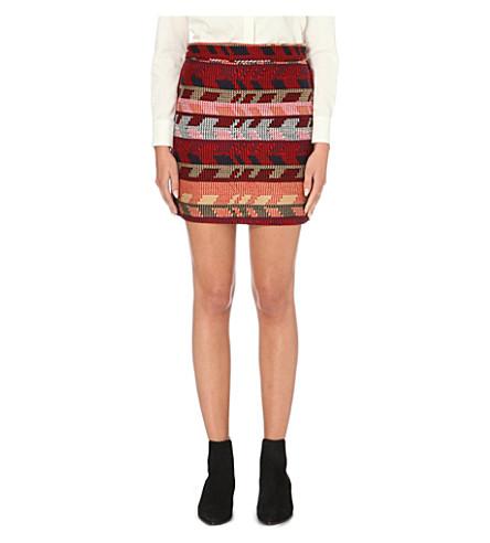 MAJE Jakarto jacquard mini skirt (Rouge