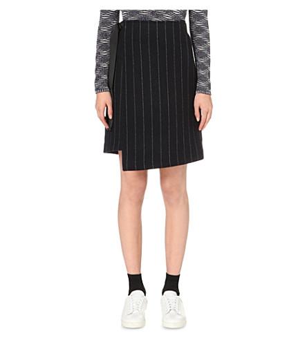 MAJE Josh pinstriped wool-blend skirt (Marine