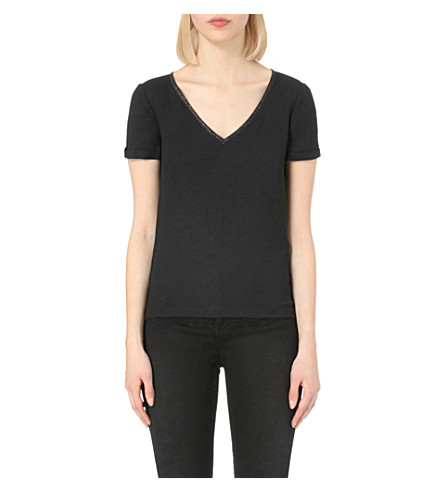 MAJE Louxor embellished-trim crepe top (Black