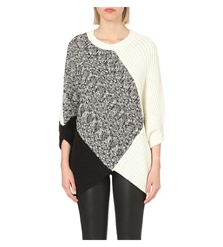 MAJE Math contrast-knit jumper (Ecru