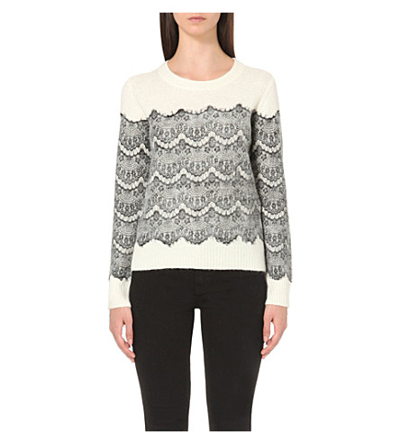 MAJE Scalloped floral-lace knitted jumper (Ecru