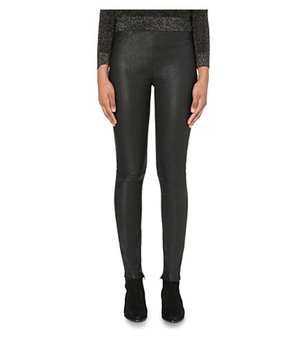MAJE Smarta leather and jersey leggings (Black