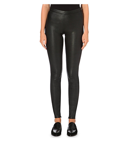 MAJE Smarto stretch-leather leggings (Black
