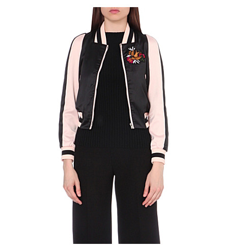 MAJE Basla satin bomber jacket (Black