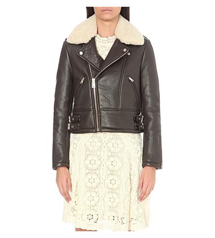 MAJE - Basou shearling and leather jacket | Selfridges.com