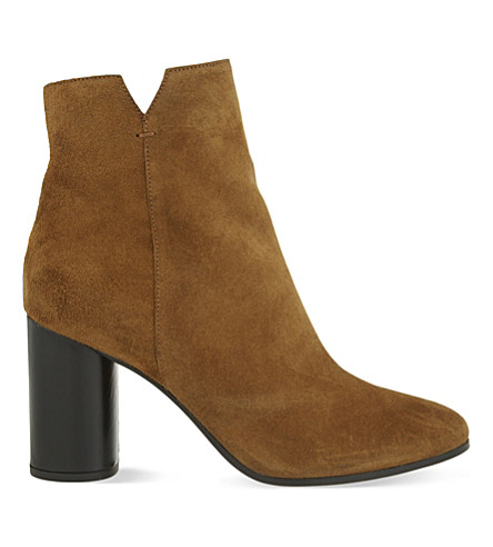 MAJE Foly suede heeled ankle boots (Camel