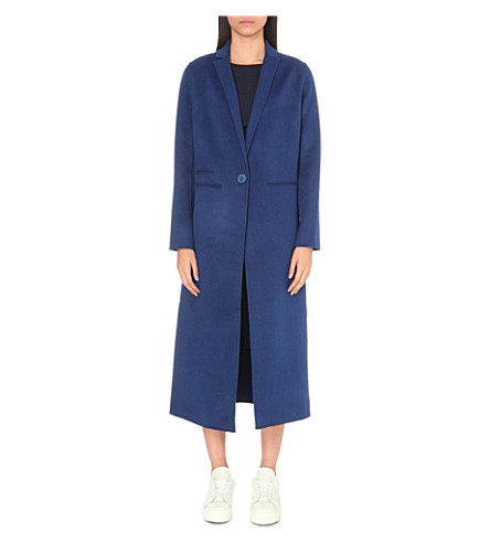 MAJE Galaxie wool-blend overcoat (Blue