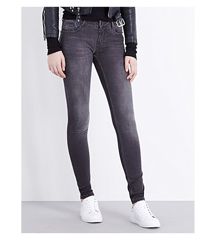 MAJE Jaw skinny high-rise jeans (Grey