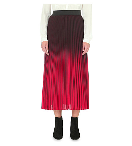 MAJE Jonael pleated woven skirt (Bordeaux