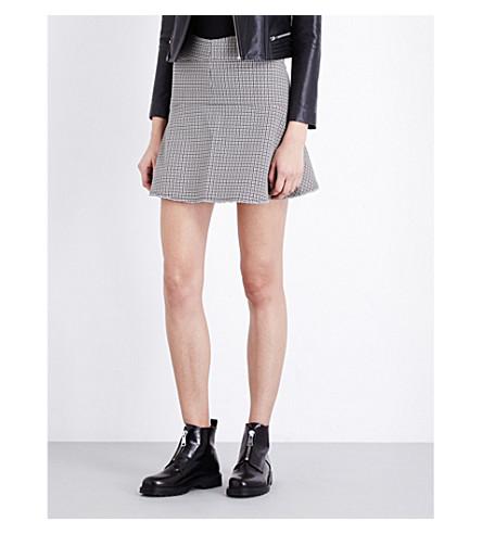 MAJE Frayed hem houndstooth print skirt (Jacquard